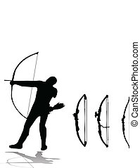 archer and set of bows - silhouettes of archer and set of...