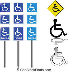 collection of handicap signs vector
