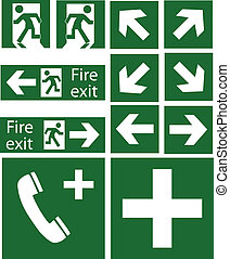 green emergency signs