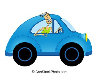 cartoon car - cartoon happy man on car on white background