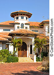 Vertical view of Spanish style home