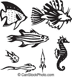 reef fish - Stylized vector illustrations of several...