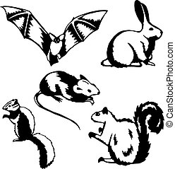 Rodents - Five stylized vector illustrations of small...