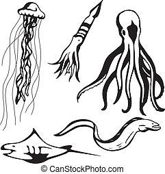 Sea creatures - Five stylized vector sea creature...