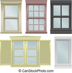 Five windows - Five window vector illustrations