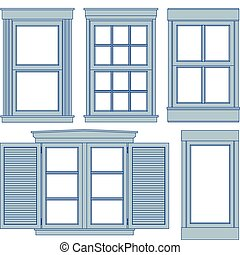 Window blueprints - Five window blueprint vector...