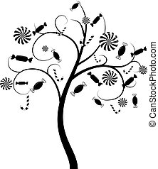 Candy tree - Vector tree silhouette with candies