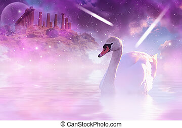 Swan - Romantic picture with pink swan and ruins in...