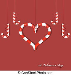 Candy heart - Vector picture with different red candies