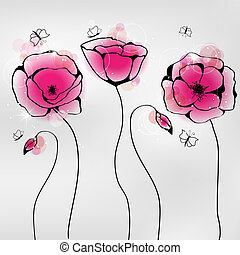 Poppy - Vector pictures with pink poppy flowers and...