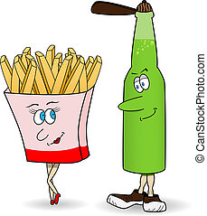 French fries and beer - Vector picture with funny french...