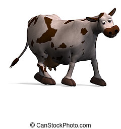 cute and funny cartoon cow 3D rendering with clipping path...