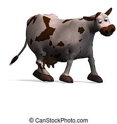 CÙte, zabawny, rysunek, krowa, 3d, przedstawienie,...