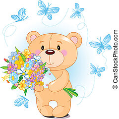 Blue Teddy Bear with flowers - Cute little Teddy bear...