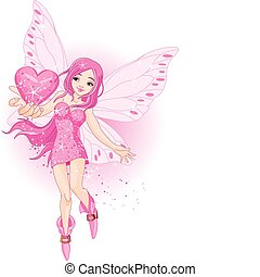 Love Fairy - Illustration of beautiful love fairy holding...