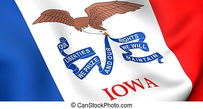 Flag of Iowa, USA. Close up. 3d