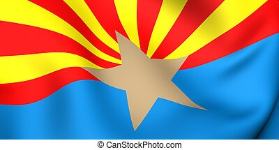Flag of Arizona, USA. Close up. 3d