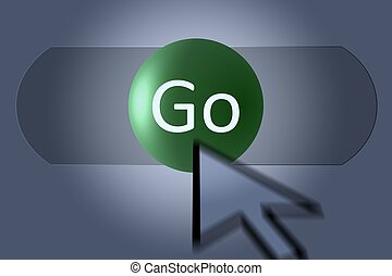 Go - Mouse pointer on a Go button in computer software.