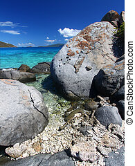 Coastline in British Virgin Islands - Huge boulders dot the...