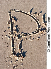 Letter P drawn in the sand