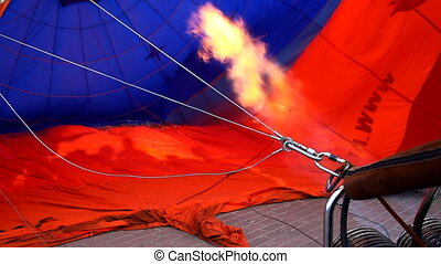 fire from jet blow hot air balloon