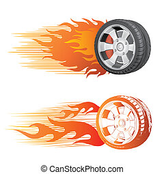 wheel and flame - fiery racing tire