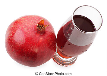 A glass of pomegranate juice with water drops isolated on the white background