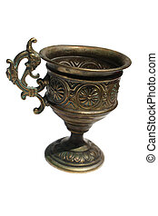 Old ritual grail isolated on white background