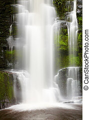 Mclean Falls, New Zealand - Waterfall in primeval forest,...