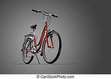 3D mountain bike on grey background - A 3D mountain bike on...