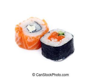 sushi - two fresh sushi roll isolated on white