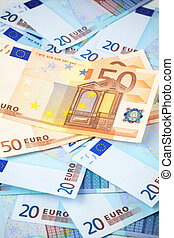 Few banknotes of 20 euro, can be used as a background
