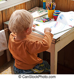 little boy - drawing little boy, sit at the table