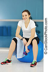 young woman fitness workout - happy diet concept with young...