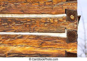 Antique square log cabin wall end - End of log cabin wall...