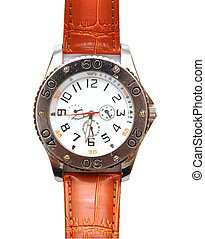 Mens luxury wrist watch on white background