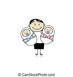 Happy mother with newborn twins