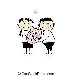 Felice, genitori, neonato, bambino