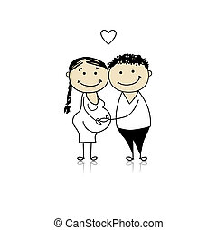 Feliz, pais, esperando, bebê, Gravidez