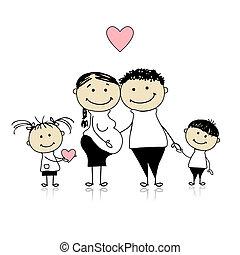 Feliz, pais, crianças, esperando, newbaby, Gravidez
