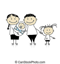 Happy parents with children, newborn baby in hands