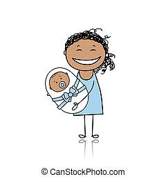 heureux, mère, Sourire, nouveau né,...
