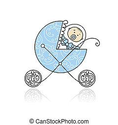 Newborn in babys buggy for your design