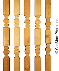 Five wooden balusters - Five large wooden balusters isolated...