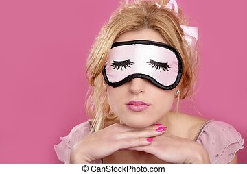 sleep mask blind blonderelaxed on pink - sleep mask blind...