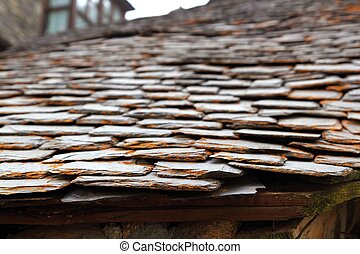 slate stone roof tiles perspective selective focus outdoor