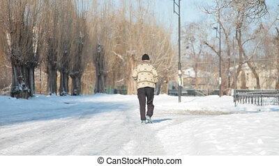 jogging in winter - senior jogging in winter