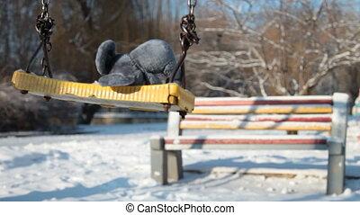 empty playground in winter