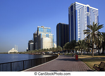Skyscrapers in Sharjah. Khalid Lagoon.UAE.
