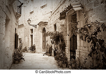 Retro photo of old narrow street - Retro photo of old narrow...